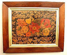 Unusual Penwork Wooden Floral Picture c 1800