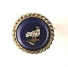 Antique Micro Mosaic Ring -- Dove in Cobalt