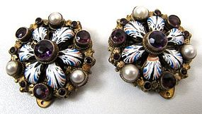 Austro-Hungarian Dress Clips, Enamel, Pearls, Amethysts