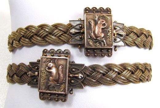 Pair of Antique 14k Woven Bracelets, Squirrels!