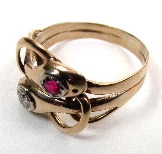 Gentleman�s Victorian Snake Ring, Ruby Diamond