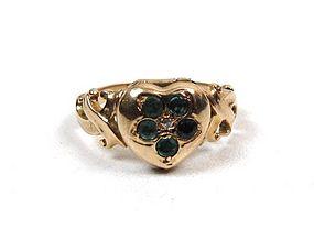 Victorian Heart-Shaped Locket Ring, Gold, Emeralds