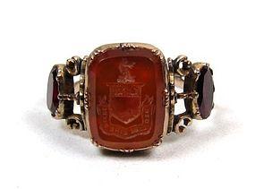 Georgian Swivel Memorial Ring, Intaglio Crest