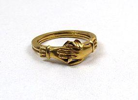 Fantastic Antique Fede Gimmel Ring, 18K gold