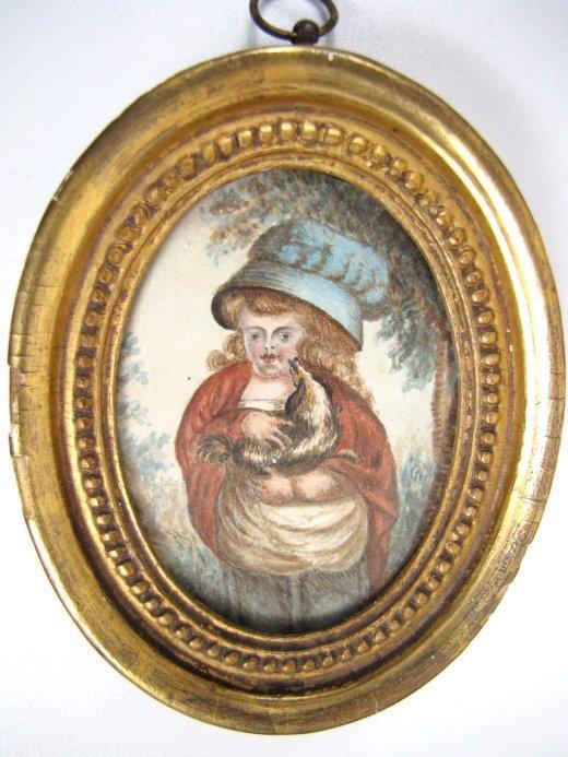 19th C Primitive Portrait Miniature, Girl with Spaniel