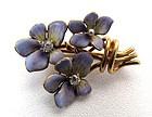 Gold and Enamel Art Nouveau Brooch, Bunch of Violets