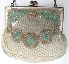 Early 20th C Sequined and Beaded Purse, Sea Green