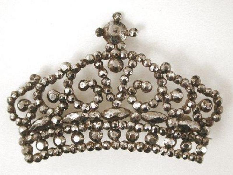 Early Victorian Cut Steel Brooch -- Crown!