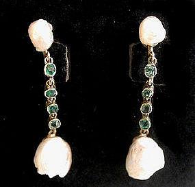 Victorian Pearl & Emerald Dangle Earrings