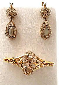Russian Rock Crystal & Pearl Brooch, Earrings
