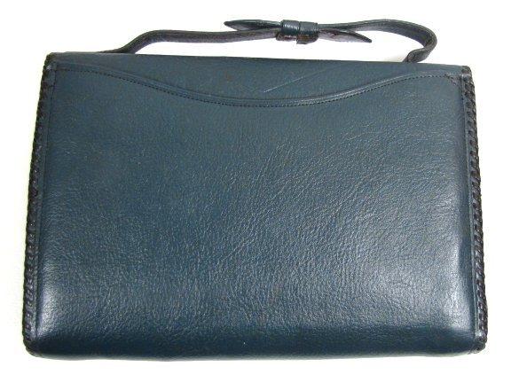Rare Bosca Arts and Crafts Leather Clutch Purse, Blue!