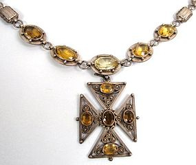 Victorian Citrine and Silver Necklace, Maltese Cross