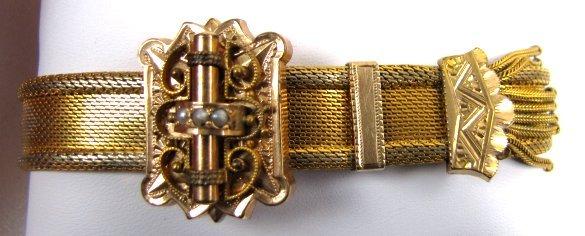 Victorian Gold Filled Mesh Slide Bracelet