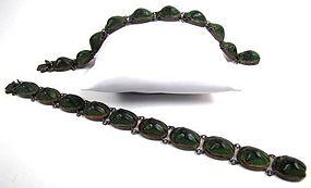 Beautiful Pair of Antique Scarab Beetle Bracelets