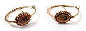 19th C Enamel and 18K Poissarde Earrings, Pansies