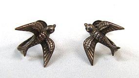 Vintage Beau Sterling Screwback Earrings, Birds