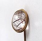 Gorgeous Antique Rutilated Quartz 14K Stick Pin