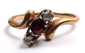 Delicate Antique Garnet, Diamond, Rose Gold Ring
