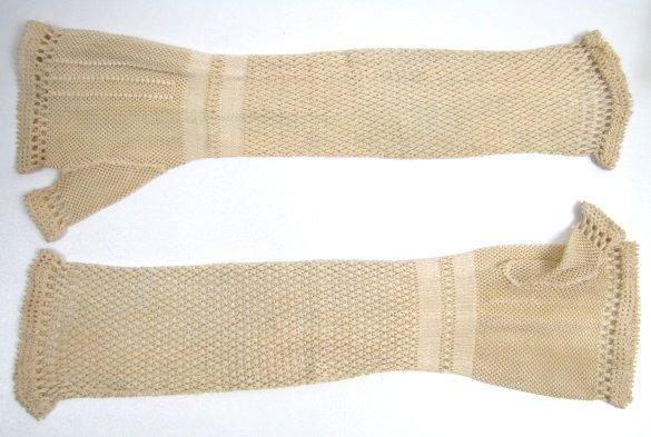 Victorian Fine Silk Knitted Fingerless Mitts