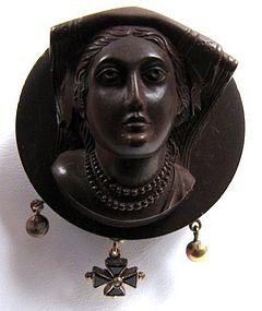 19th C Continental Gutta Percha Cameo, Medieval Woman