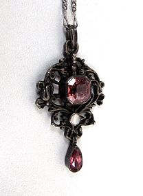 Antique 830 Pink Paste and Mother of Pearl Pendant