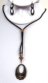 19th C Pique Demi Parure, Pendant, Earrings, Hair Chain