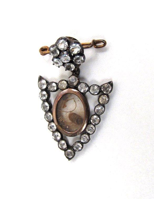 Unusual Victorian Sentimental Paste Brooch, Shield
