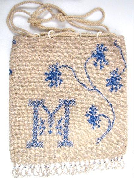 """Antique Beaded Reticule, Initial """"M"""""""