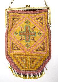 Antique Micro Beaded Rug Design Purse