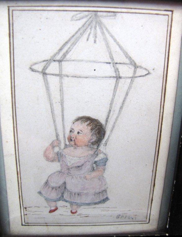 Folk Art Portrait Miniature of Baby in Jumper, 1849