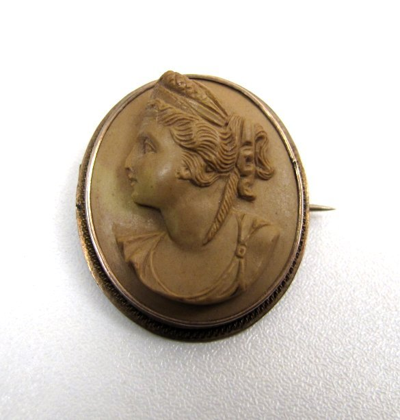 Victorian Lava Cameo Brooch, Classical Woman