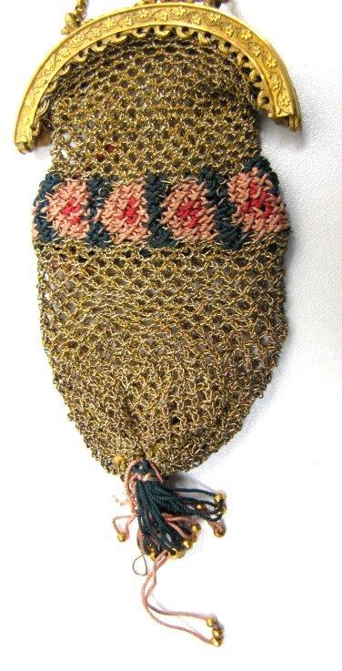 19th C Victorian Metal and Silk Thread Knit Purse