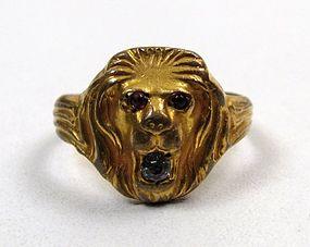 Gilt Metal Art Nouveau Ring, Lion's Head