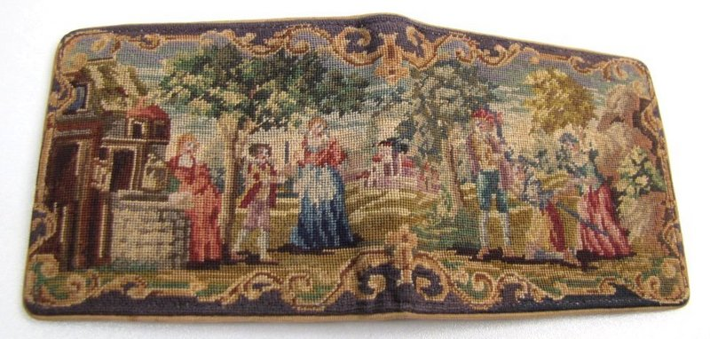 Austrian Petit Point Wallet, Figures at a Well