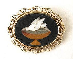 19th C Pietra Dura Mosaic & 14K Brooch, Dove