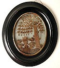 Superb 19th C Mourning Hair Work Picture