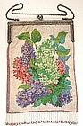 Superb Antique Micro Beaded Purse, Lilacs!