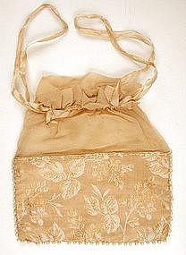 Victorian Hand Sewn Gauze & Silk Purse