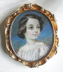 Portrait Miniature of Girl w/ Dimple c 1840