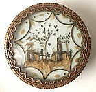 Fabulous 19th C Dragee Box with Hair Scene