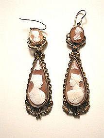 English Long Cameo Earrings, Pinchbeck ,1860