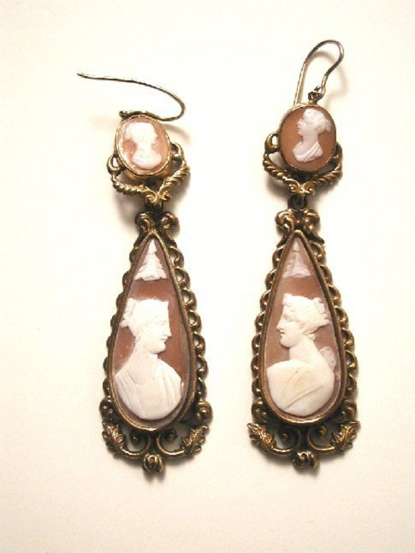 English Long Cameo Earrings, Pinchbeck ,1860