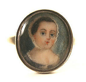 18th C Miniature Portrait Ring, Young Girl