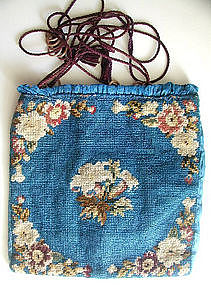 Antique Berlin Wool Work Bag Purse, Blue, Floral, 1850