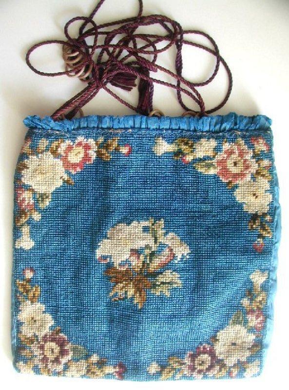 Antique Berlin Wool Work Bag Purse, Blue, Floral, 1850