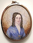 Miniature Portrait of Pretty Young Lady, 1850