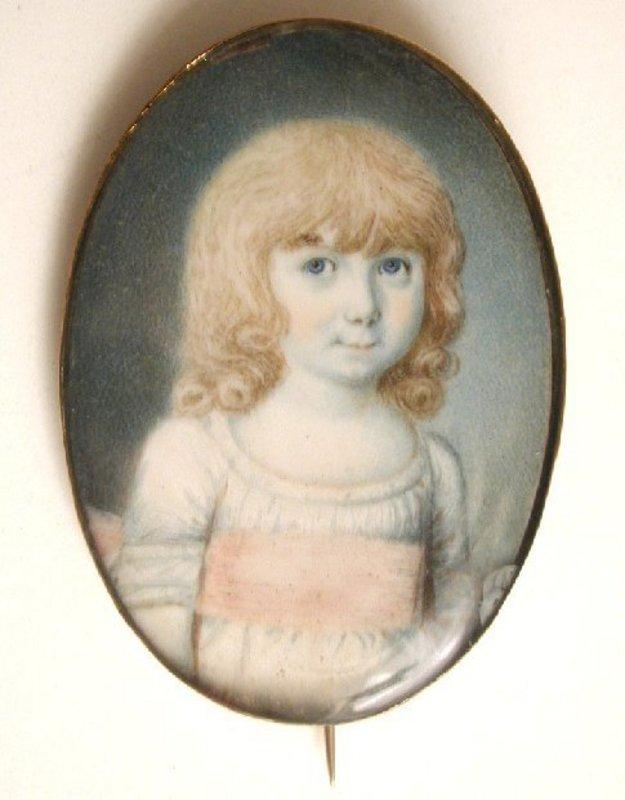 Charming Portrait Miniature of Girl, by Redmond, 1775