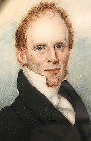 American Portrait Miniature of John Bixby, ca 1820's