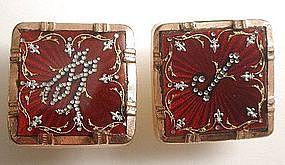 Pair of Vintage Cufflinks, Crimson Enamel and Paste