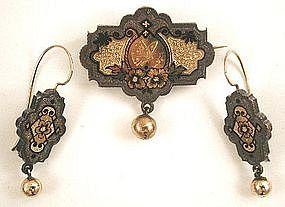 Unusual Victorian Demi Parure, Earrings and Brooch